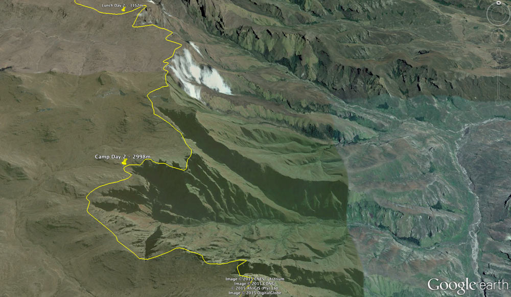 The Google Earth snapshot of Day 2, showing our camp near Fangs Pass at 2998 metres.
