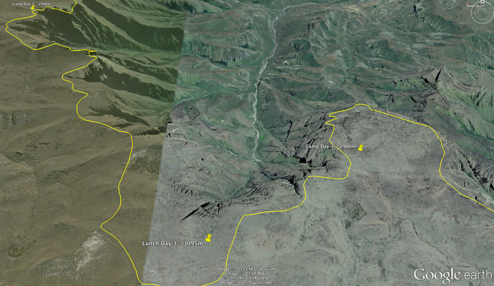 The Google Earth screenshot of the terrain on Day 3, showing our camp near Mnweni Pass at 2900 metrres.