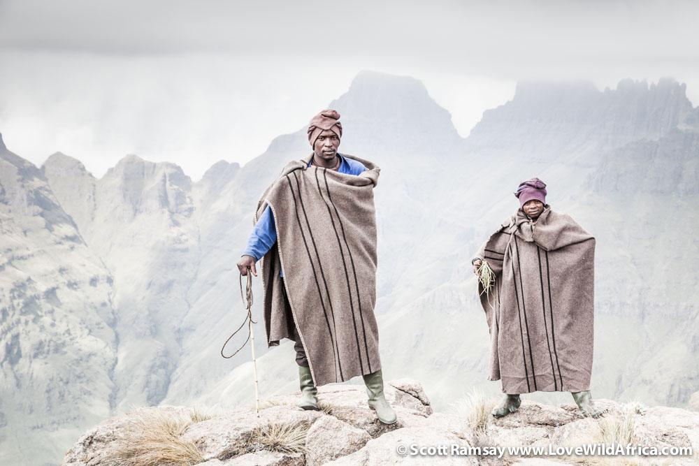 Basotho shepherds Hape Farelani and Pezulu Habayani